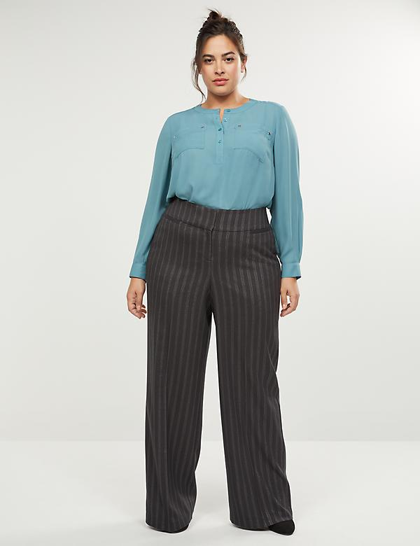 Allie Tailored Stretch Wide Leg Pant - Shimmer Stripe