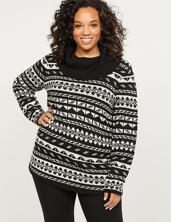 Fair Isle Cowlneck Sweater