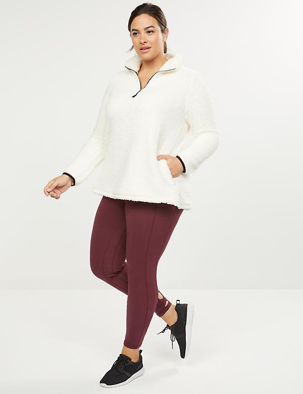 LIVI Active Faux-Sherpa Quarter Zip Sweatshirt
