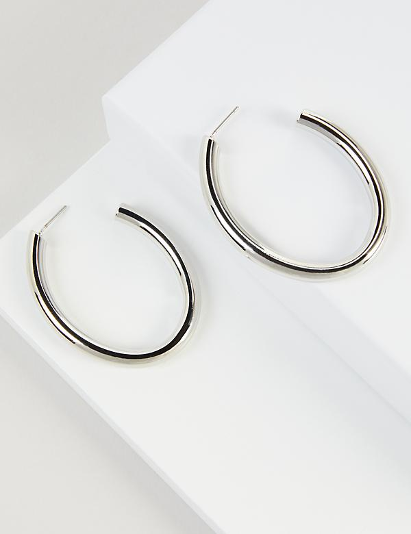 Oval Open Hoop Earrings