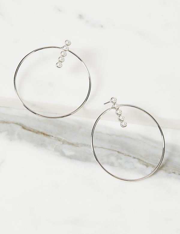 Pearlescent Front-Facing Hoop Earrings