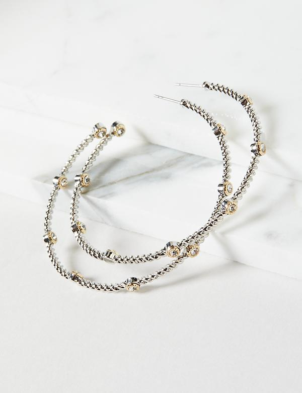 Mixed Metal Textured Hoop Earrings
