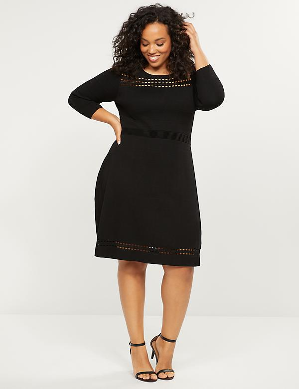 Open-Stitch Fit & Flare Sweater Dress
