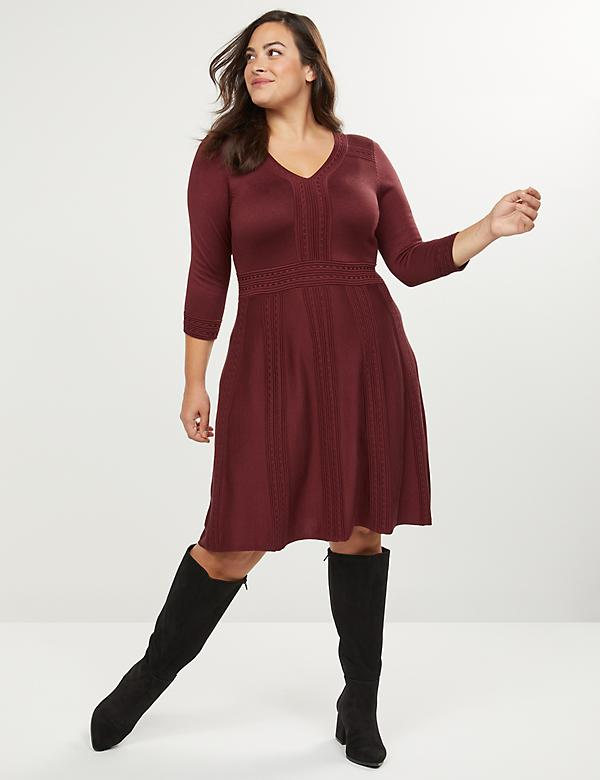 Textured Fit & Flare Sweater Dress