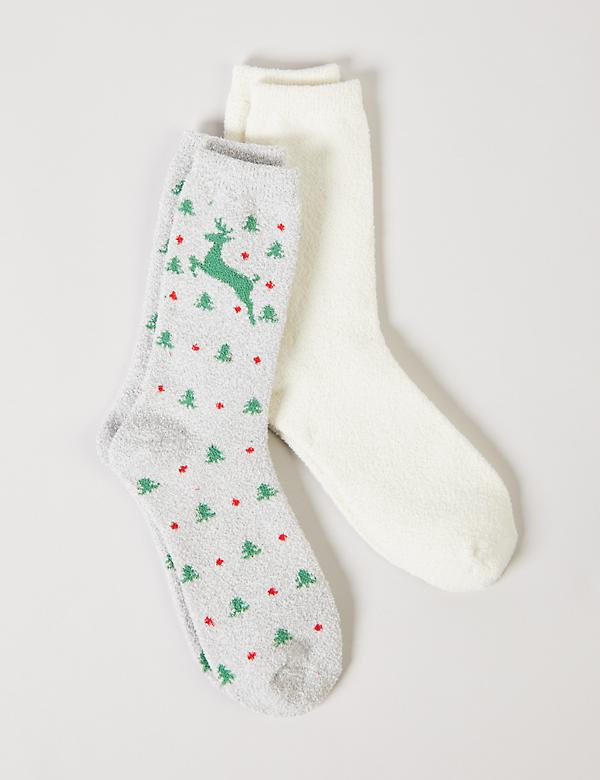 Plush Crew Socks 2-Pack - Reindeer