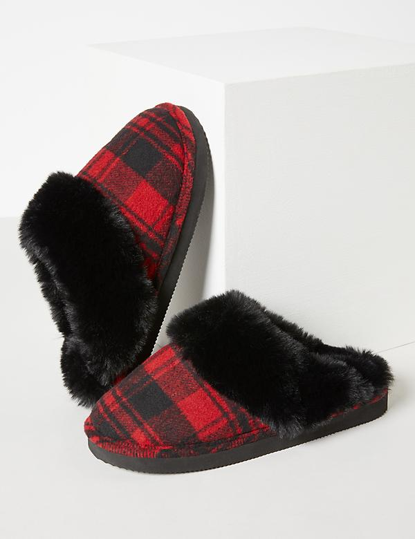 Plaid Slippers With Faux Fur