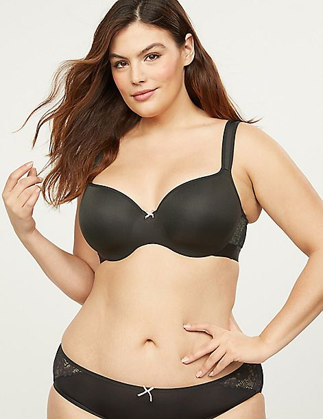Smooth Lightly Lined Balconette Bra With Lace Sides