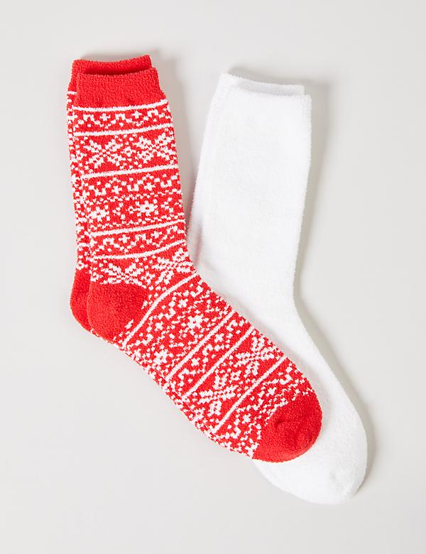 Plush Crew Socks 2-Pack - Snowflakes