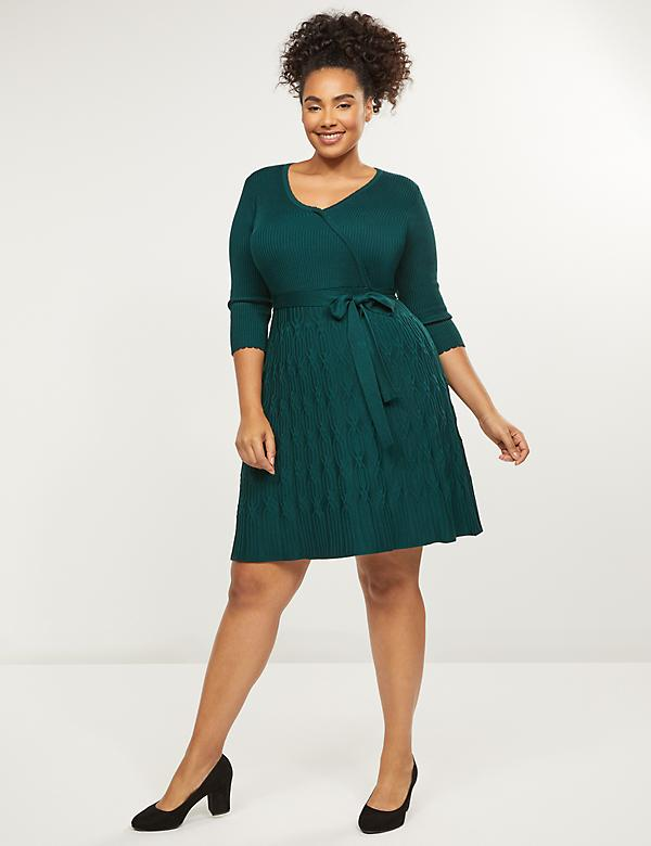 Faux-Wrap Fit & Flare Sweater Dress