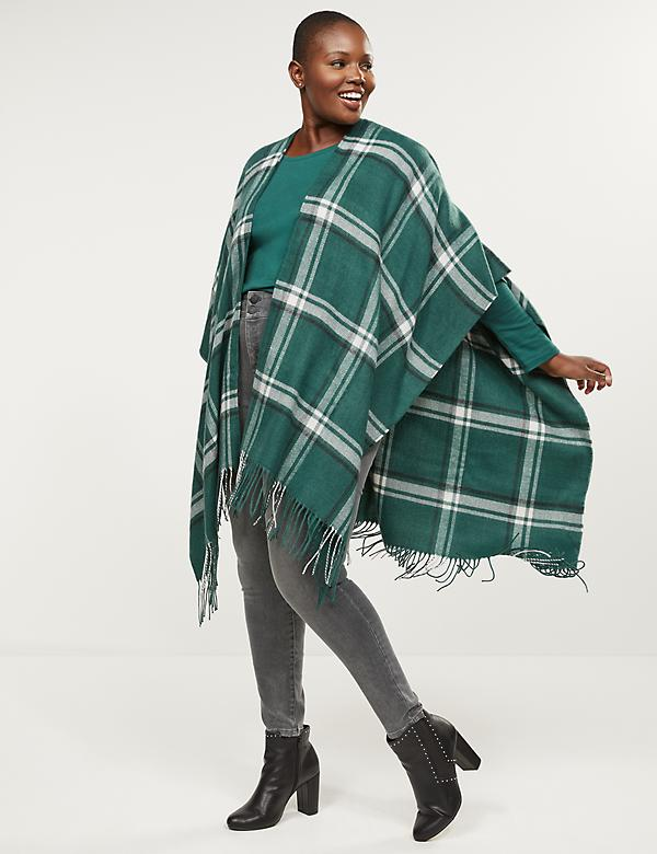 Green Plaid Wrap Poncho