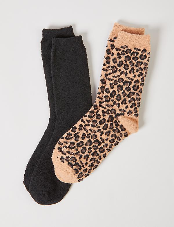 Plush Crew Socks 2-Pack - Leopard Print