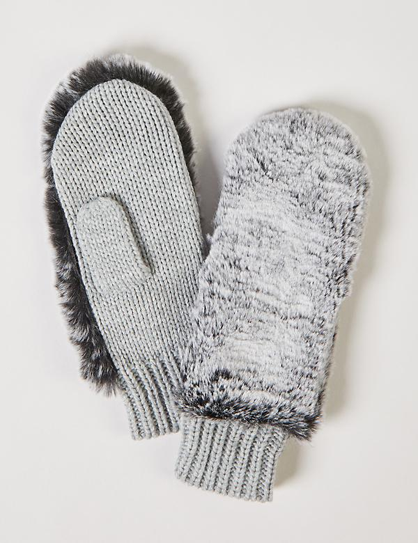 Faux-Fur Knit Mittens