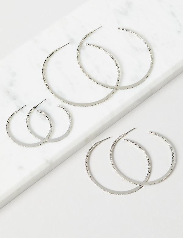 Hoop Earrings 3-Pack - Textured Silvertone