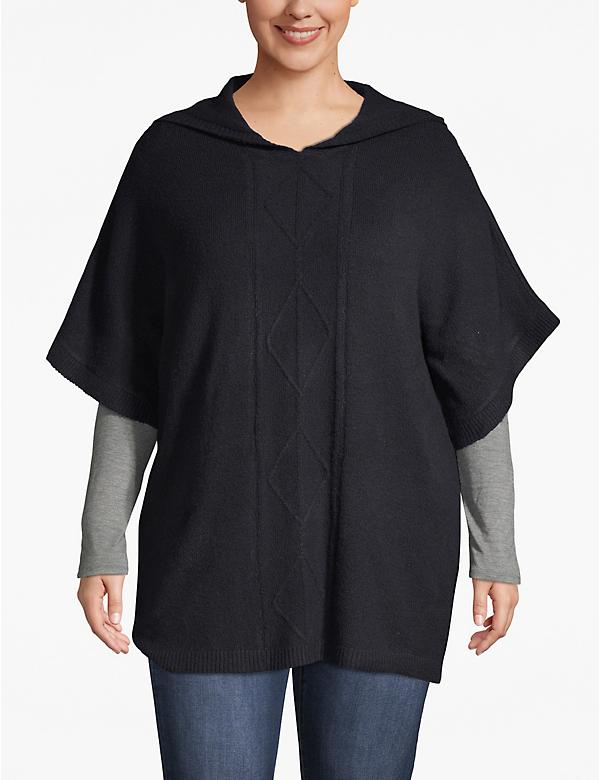 Cable Knit Hooded Poncho