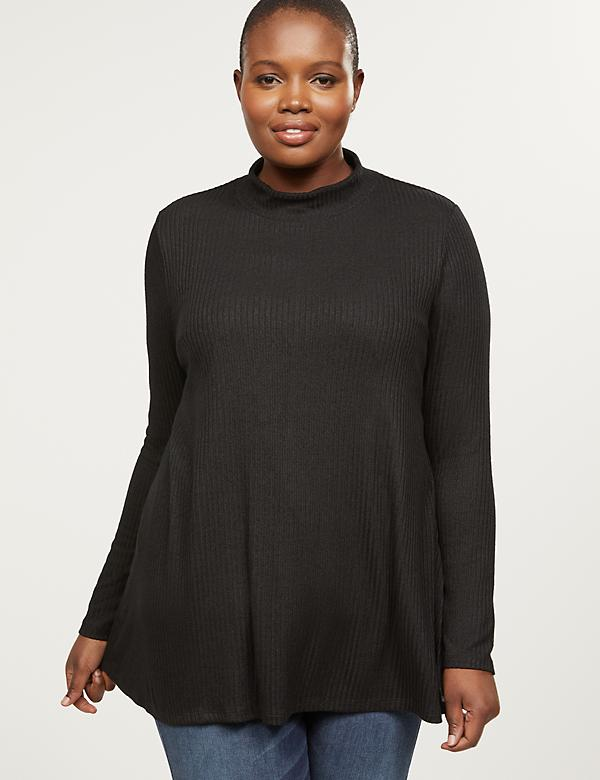 Softest Touch Ribbed Mock-Neck Swing Tunic