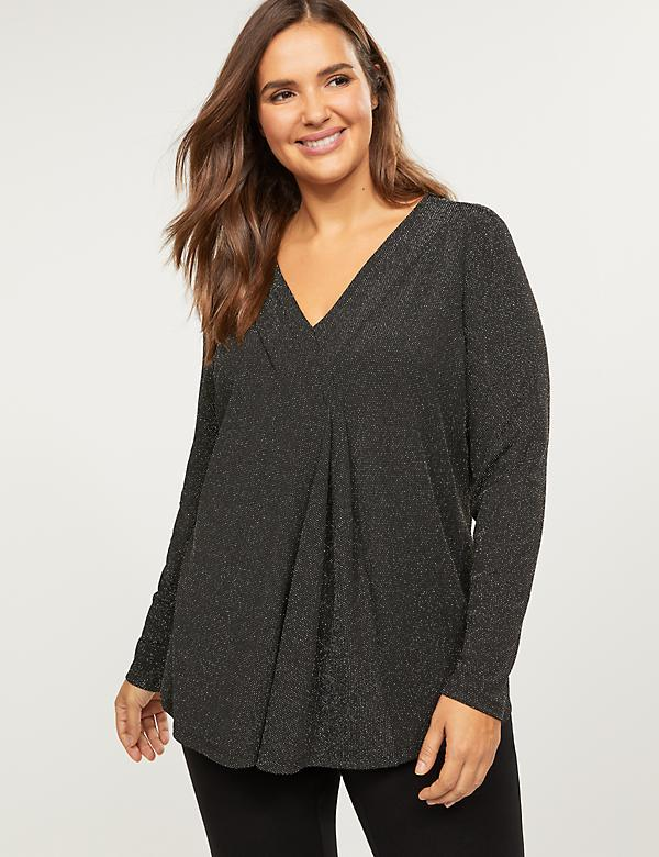 Sparkling Pleated Faux-Wrap Top