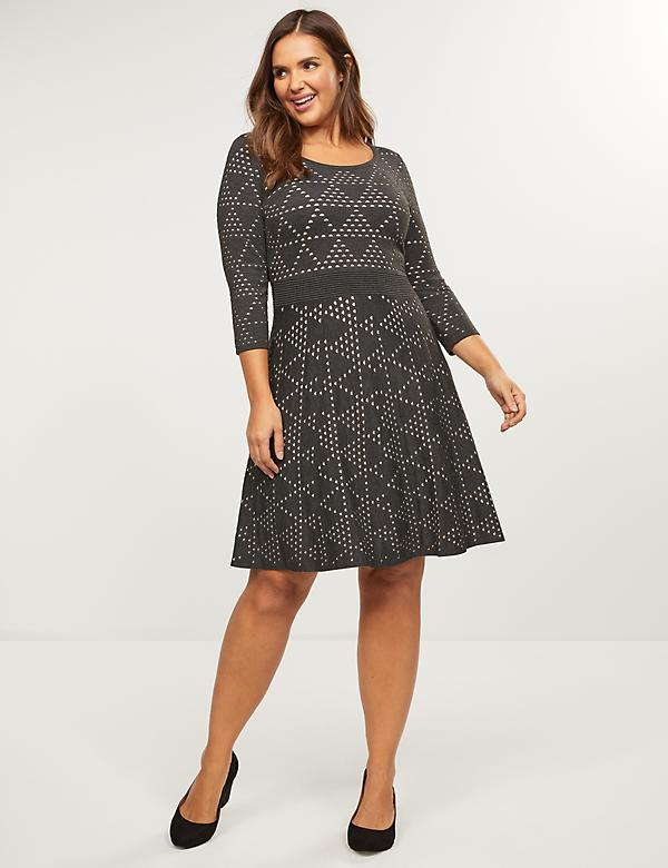 Dotted Triangle Fit & Flare Sweater Dress