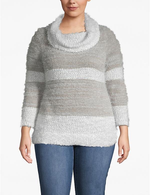 Fuzzy Striped Cowlneck Sweater