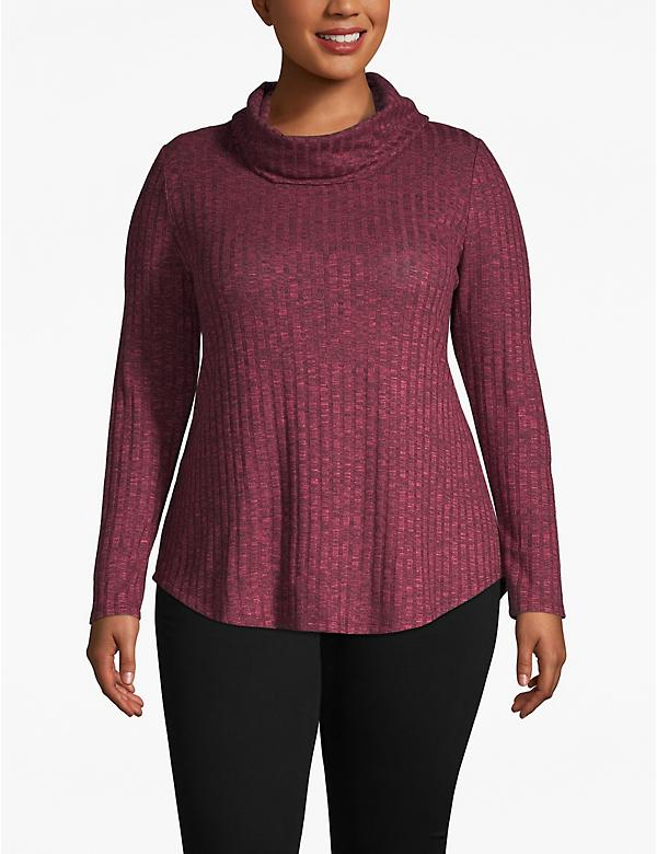 Cozy Touch Ribbed Cowlneck Top