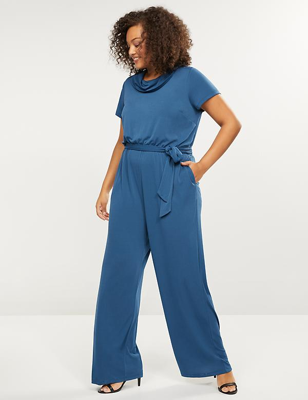 Cowl-Neck Wide-Leg Jumpsuit