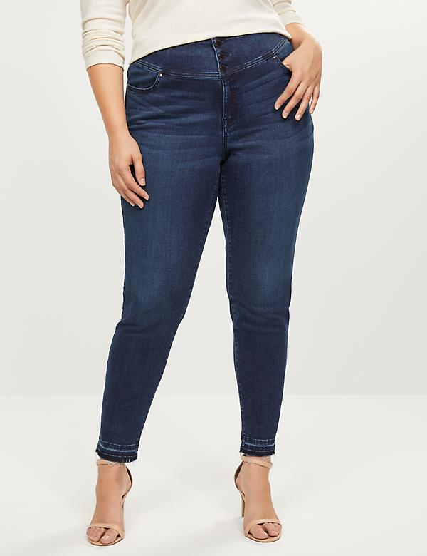 High-Rise 3-Button Jegging - Dark Wash With Released Hem