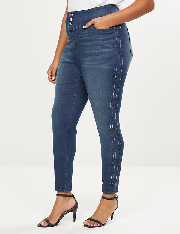 High-Rise 3-Button Jegging - Rhinestone Side Seam