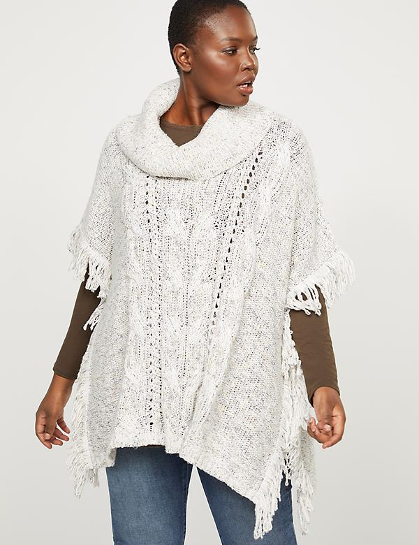 Cowlneck Poncho Sweater With Fringe Trim