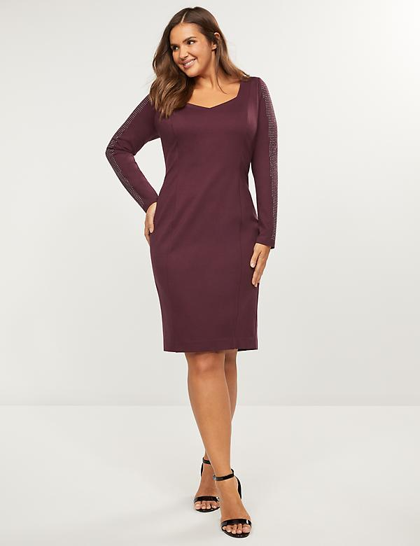 Ponte Rhinestone-Sleeve Sheath Dress