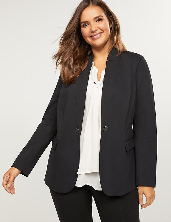 Bryant Blazer - Ponte With Stand Up Collar
