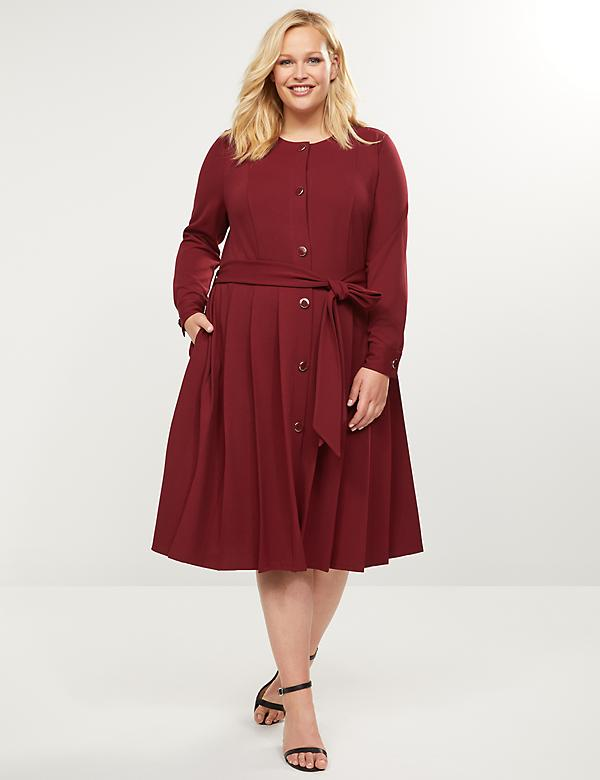 Button-Front Midi Dress With Pleated Skirt