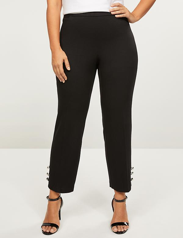 Pull-On Allie Ponte Straight Ankle Pant - Button Hem