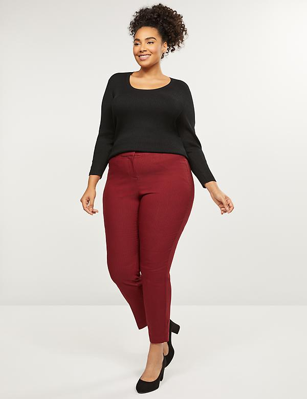 Curvy Power Pockets Allie Sexy Stretch Ankle Pant - Houndstooth