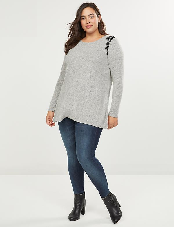 Softest Touch Lace-Shoulder Swing Tunic