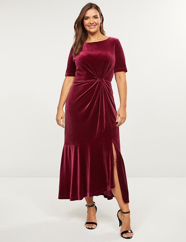 Velvet Twisted Midi Dress