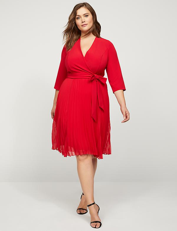 Mixed-Fabric Faux-Wrap Fit & Flare Dress