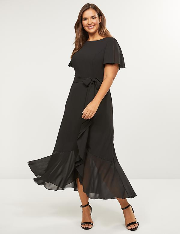 Flutter-Sleeve Midi Dress
