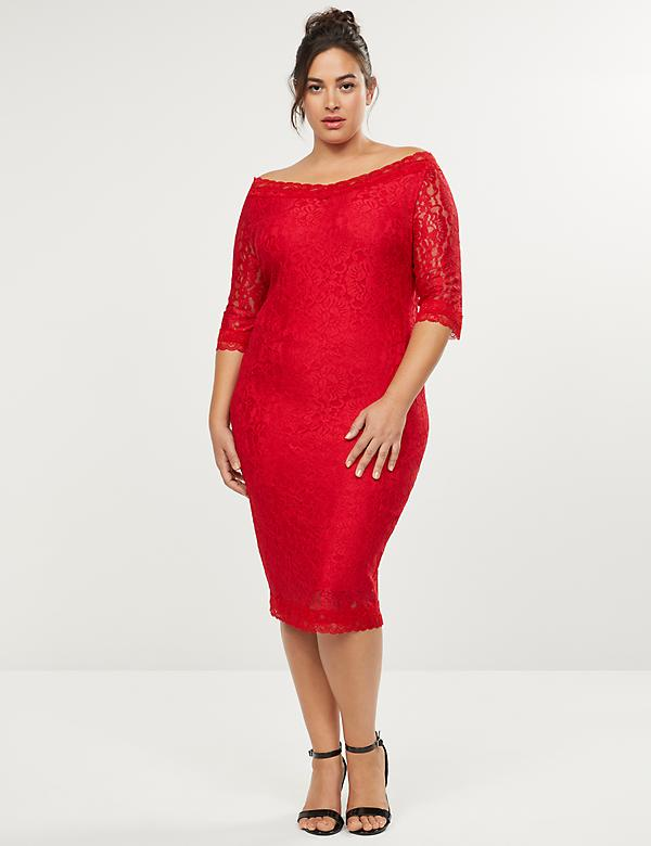 Off-the-Shoulder Lace Sheath