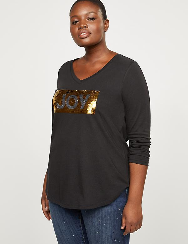 Flip Sequin Joy & Cheers Graphic Tee