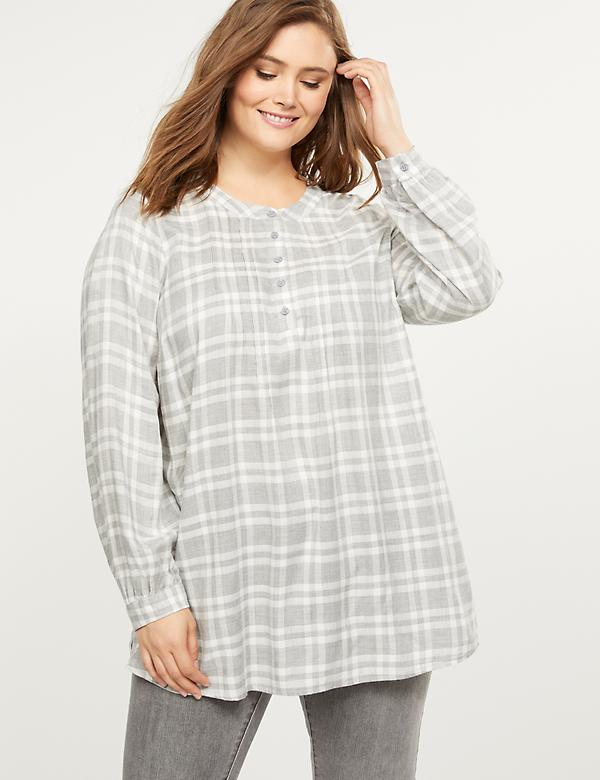 Plaid Pintuck Popover Shirt