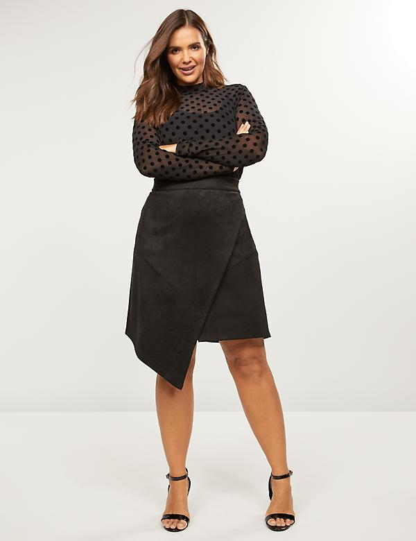 Asymmetrical Faux Suede Skirt