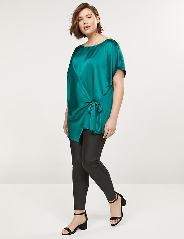 Mixed Material Wrap-Front Tunic