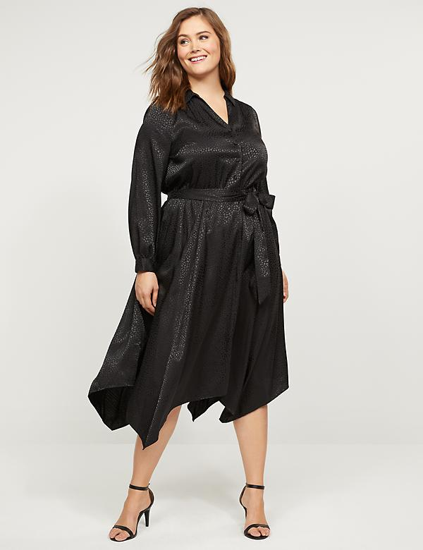 Textured Satin Midi Shirt Dress