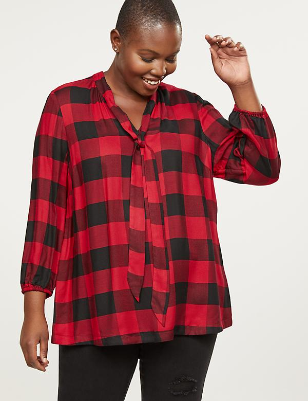 Buffalo Plaid Tie-Neck Top