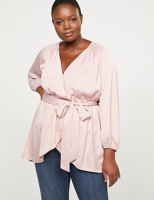 High-Low Faux-Wrap Tunic Top