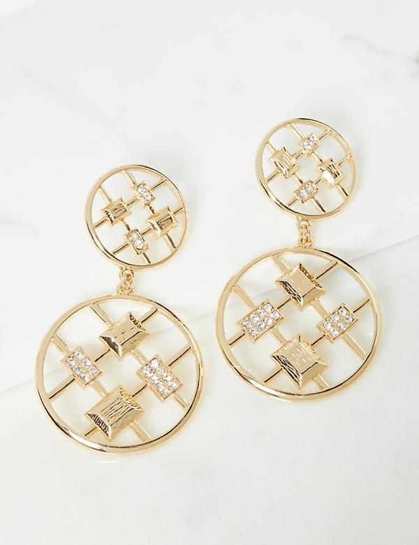 Double-Geo Grid Drop Earrings