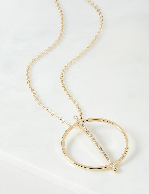 Circle & Line Pave Pendant Necklace