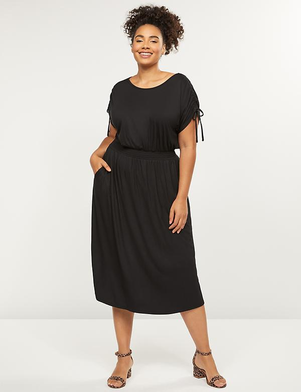 Shirred Waist Fit & Flare Midi Dress