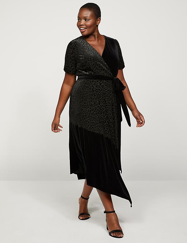 Animal Print Velvet Faux-Wrap Midi Dress
