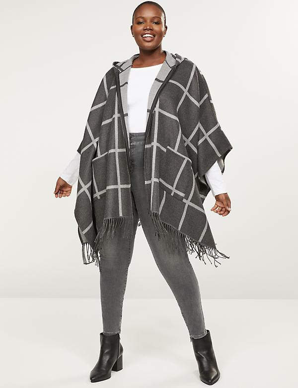 Zip-Up Hooded Plaid Poncho