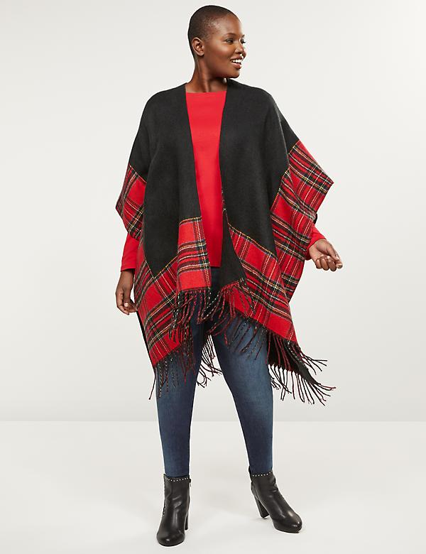Reversible Colorblock Plaid Wrap Poncho